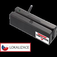 Třístopá čtečka magnetických karet MSR-100A, USB-COM, černá