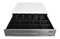 Pokladní zásuvka C430B bez kab., kov. držáky, nerez panel, bílá, BAZAR