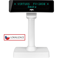 VFD zákaznický displej Virtuos FV-2030W 2x20 9mm, serial, bílý