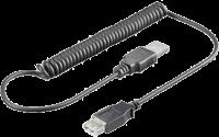 Kabel USB prodlužovací A-A, 0,5-1,5 m, kroucený, černý