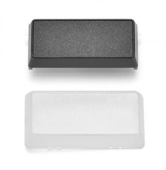 Plastová klávesa+transparentní krytka 2x1, černá