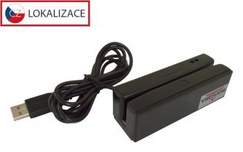 Třístopá čtečka magnet. karet VIRTUOS MSR-100, USB, černá  - 1