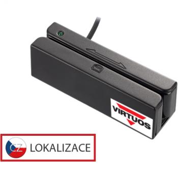 Třístopá čtečka magnetických karet MSR-100A, USB, černá  - 1