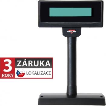 LCD zákaznický displej Virtuos FL-2024LW 2x20, USB, 5V, černý  - 1