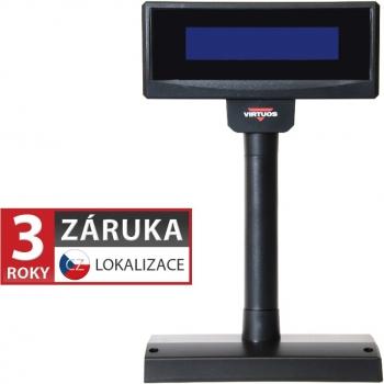 LCD zákaznický displej Virtuos FL-2024LB 2x20, USB, 5V, černý  - 1