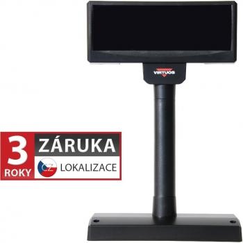 VFD zákaznický displej Virtuos FV-2029M 2x20 9mm, USB, černý  - 1