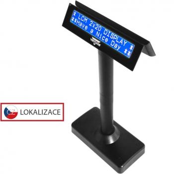 Oboustranný LCD zákaz. displej Virtuos FL-730MB 2x20, serial, černý  - 1