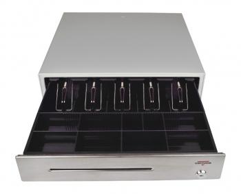 Pokladní zásuvka C430B bez kabelu, kov. držáky, nerez panel/béžová  - 1