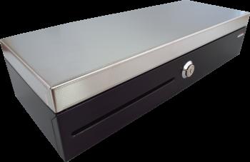 Pokladní zásuvka flip-top FT-460V2-RJ10P10C, bez kabelu, se zam. krytem, NEREZ víko, černá  - 1