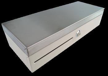 Pokladní zásuvka flip-top FT-460V3 - bez kabelu, se zam. krytem, NEREZ víko, bílá  - 1