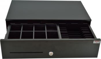 Pokladní zásuvka SK-500CB s kabelem, kov. pořadač 8/8, 9-24V, černá  - 1