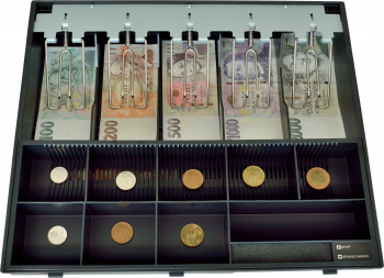 Plastový pořadač na peníze pro C425, kovové držáky bankovek  - 1