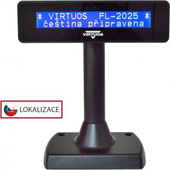 LCD zákaznický displej Virtuos FL-2025MB 2x20, USB, černý  - 1