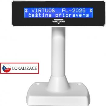 LCD zákaznický displej Virtuos FL-2025MB 2x20, serial, bílý  - 1