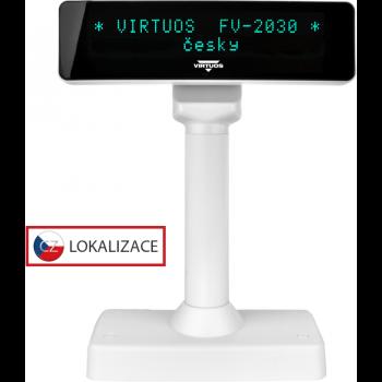 VFD zákaznický displej Virtuos FV-2030W 2x20 9mm, serial, bílý  - 1