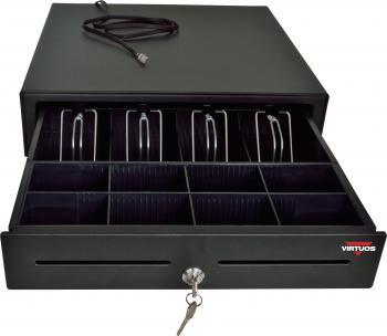 Pokladní zásuvka S-410 - s kabelem, pořadač 4/8, 24V, matná černá  - 1