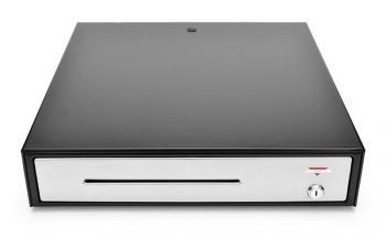 Pokladní zásuvka C430B - bez kabelu, kov. držáky, nerez panel/černá  - 2