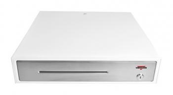 Pokladní zásuvka C430C - s kabelem, kov. držáky, nerez panel/bílá  - 2