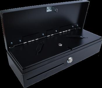 Pokladní zásuvka flip-top FT-460V-RJ10P10C, bez kabelu, se zam. krytem, černá  - 2