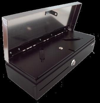 Pokladní zásuvka flip-top FT-460V2-RJ10P10C, bez kabelu, se zam. krytem, NEREZ víko, černá  - 2