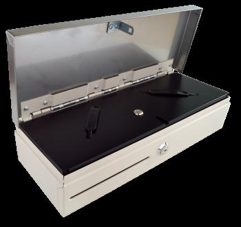 Pokladní zásuvka flip-top FT-460V3 - bez kabelu, se zam. krytem, NEREZ víko, bílá  - 2