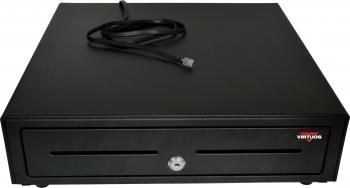 Pokladní zásuvka S-410 - s kabelem, pořadač 4/8, 24V, matná černá  - 2