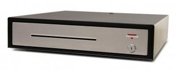 Pokladní zásuvka C430B - bez kabelu, kov. držáky, nerez panel/černá  - 3