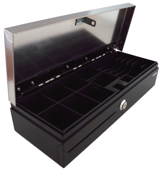 Pokladní zásuvka flip-top FT-460V2-RJ10P10C, bez kabelu, se zam. krytem, NEREZ víko, černá  - 3