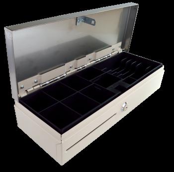Pokladní zásuvka flip-top FT-460V3 - bez kabelu, se zam. krytem, NEREZ víko, bílá  - 3