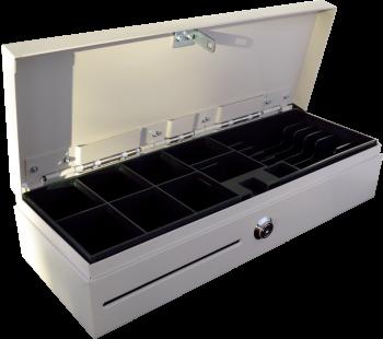 Pokladní zásuvka flip-top FT-460V4 - bez kabelu, se zam. krytem, bílá  - 3