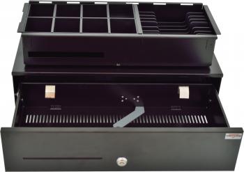 Pokladní zásuvka SK-500CB s kabelem, kov. pořadač 8/8, 9-24V, černá  - 3