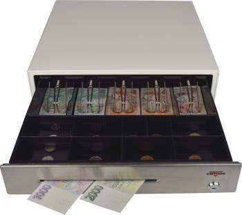 Pokladní zásuvka C430B bez kabelu, kov. držáky, nerez panel/béžová  - 4