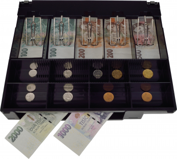 Pokladní zásuvka C430B bez kab., kov. držáky, nerez panel, bílá, BAZAR  - 4