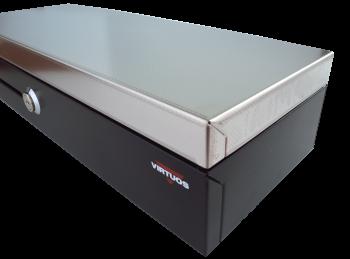 Pokladní zásuvka flip-top FT-460V2-RJ10P10C, bez kabelu, se zam. krytem, NEREZ víko, černá  - 4