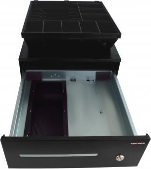 Pokladní zásuvka SK-325C - s kabelem, pořadač 6/8, 9-24V, černá  - 4