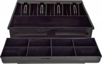 Pokladní zásuvka S-410 - s kabelem, pořadač 4/8, 24V, matná černá  - 4