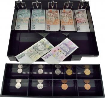 Pokladní zásuvka C430B - bez kabelu, kov. držáky, nerez panel/bílá  - 5
