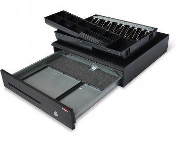 Pokladní zásuvka C425 - bez kabelu, kov. držáky, 9-24V, černá  - 5