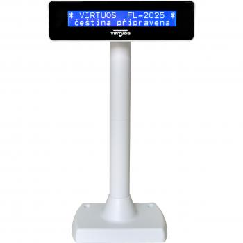 LCD zákaznický displej Virtuos FL-2025MB 2x20, USB, bílý  - 6