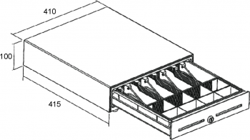 Pokladní zásuvka S-410 - s kabelem, pořadač 4/8, 24V, matná černá  - 6