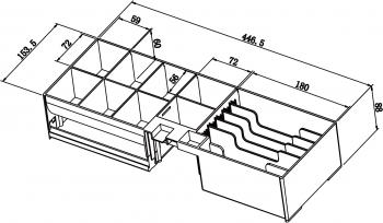 Pokladní zásuvka SK-500C - s kabelem, pořadač 6/8, 9-24V, černá  - 7