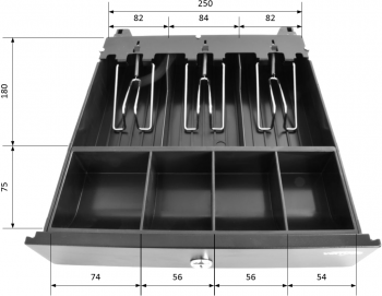 Pokladní zásuvka mikro EK-300C s kabelem, pořadač 3/4, 9-24V, černá  - 7