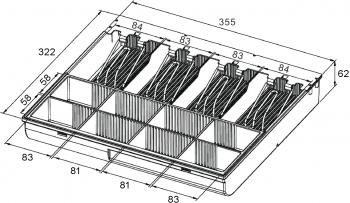 Pokladní zásuvka S-410 - s kabelem, pořadač 4/8, 24V, matná černá  - 7